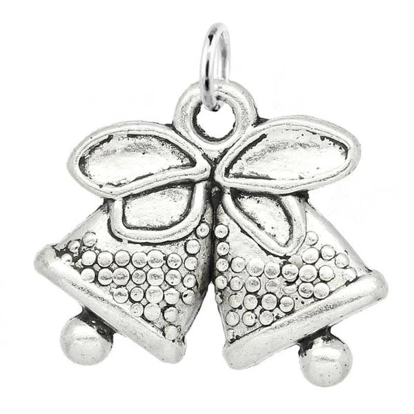 Holiday Silver Bells Charm with Jump Ring at Baubles Of Fun