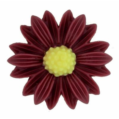 5 Pieces Burgundy And Yellow Resin Sunflower Cabochons - Bloomin Baubles