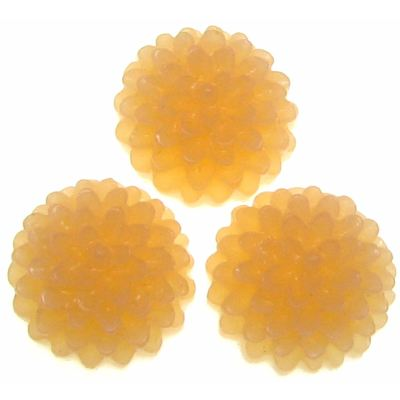 6 Pieces Apricot Ice Resin Chrysanthemum Flower Cabochons - Bloomin Baubles