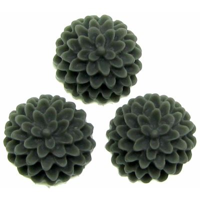 6 Pieces Charcoal Grey Resin Chrysanthemum Flower Cabochons - Bloomin Baubles