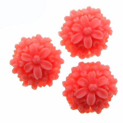 6 Pieces Coral Pink Mound Daisy Resin Flower Cabochons - Bloomin Baubles