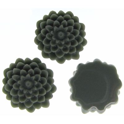 6 Pieces Grey Resin Dahlia Chrysanthemum Flower Cabochons - Bloomin Baubles