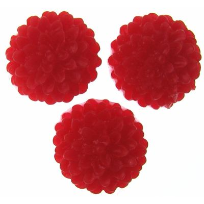 6 Pieces Red Resin Chrysanthemum Flower Cabochons - Bloomin Baubles