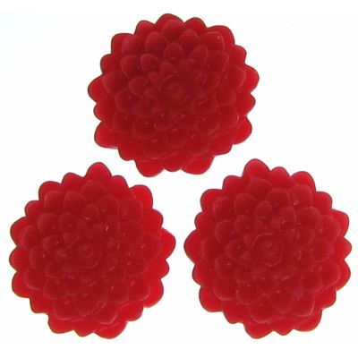 6 Pieces Red Resin Dahlia Chrysanthemum Flower Cabochons - Bloomin Baubles