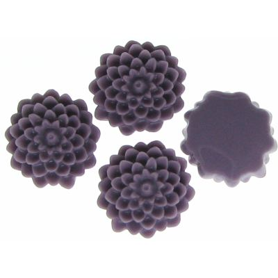 6 Pieces Wisteria Purple Resin Dahlia Chrysanthemum Flower Cabochons - Bloomin Baubles