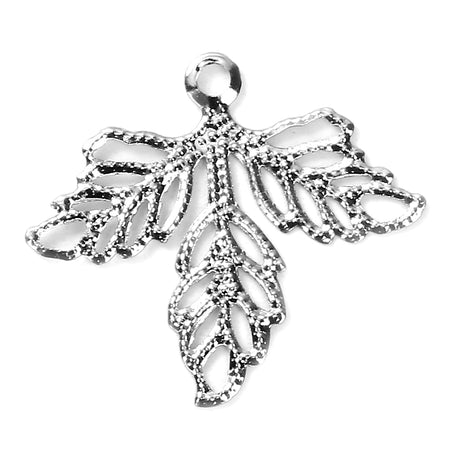Antique Silver Filigree Celestial Crescent Moon Charm [1pc]