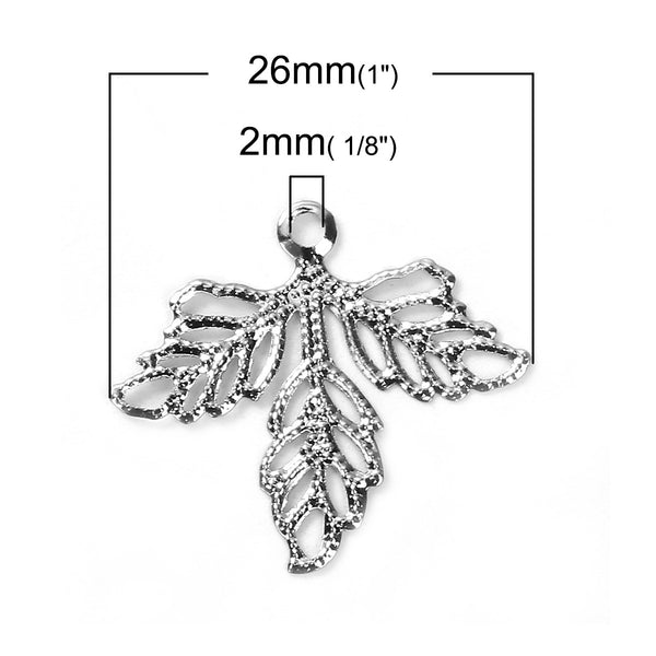 Silver Filigree Leaf Connectors / Leaf Links / Filligree Stampings [10pcs]