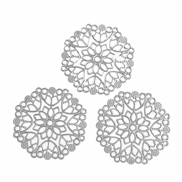 Silver Filigree Connectors / Filigree Jewelry Stampings [10pcs]