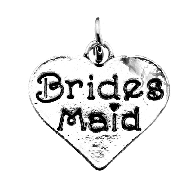 Antique Silver Bridesmaid Heart Charm at Baubles Of Fun