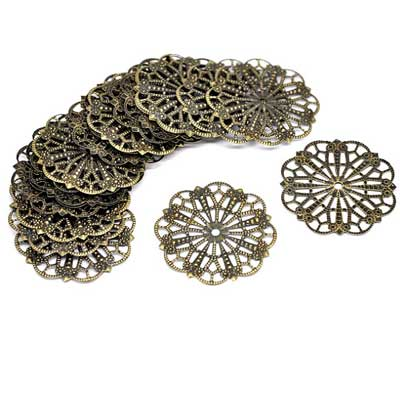 Bronze Filigree Flower Finding at BaublesOfFun.com