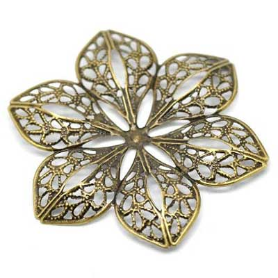 Bronze Flower Filigree Embellishment at BaublesOfFun.com