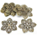 Antique Bronze Flower Filigree Embellishments at BaublesOfFun.com