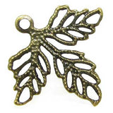 Bronze Filigree Leaf Connectors / Antique Brass Leaf Links [10pcs]