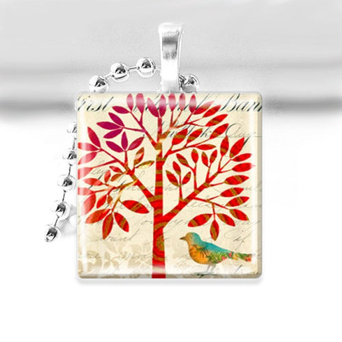 Red Altered Art Tree Glass Tile Pendant with Ball Chain Necklace