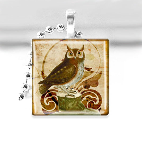 Vintage Owl Glass Tile Pendant with Ball Chain Necklace