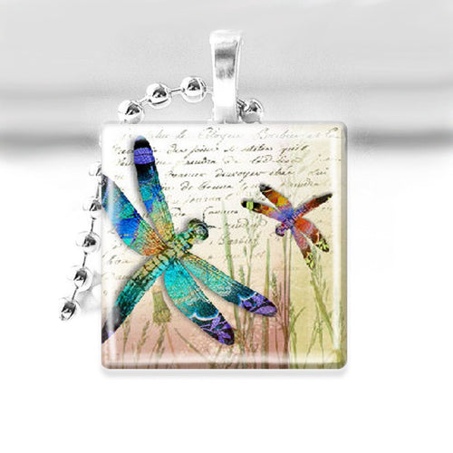 Dragonflies in Grass Glass Tile Pendant with Ball Chain Necklace