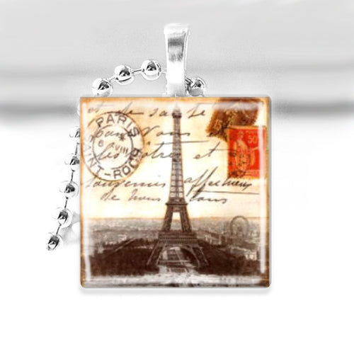 Vintage Eiffel Tower Glass Tile Pendant with Ball Chain Necklace