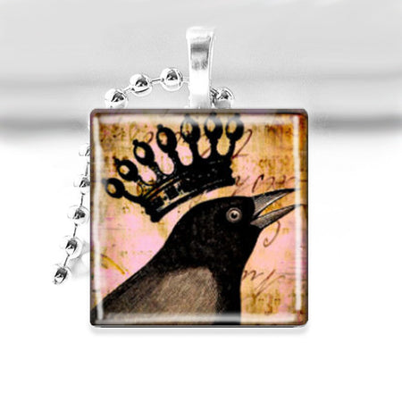 Song Bird Glass Tile Pendant with Ball Chain Necklace
