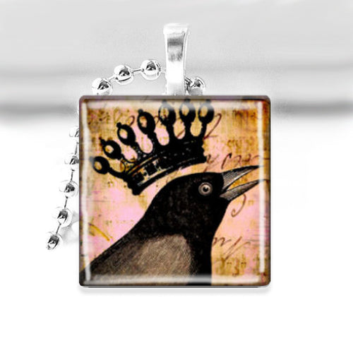 Black Bird with Crown Glass Tile Pendant with Ball Chain Necklace