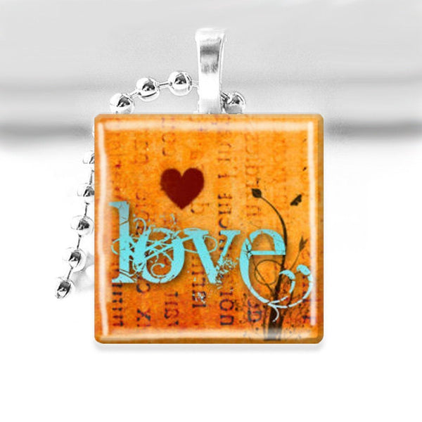 LOVE Glass Tile Pendant with Ball Chain Necklace