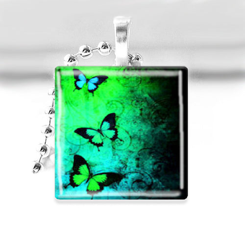 Butterflies Glass Tile Pendant with Ball Chain Necklace