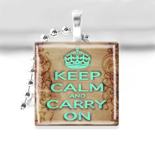 Keep Calm & Carry On Glass Tile Pendant with Ball Chain Necklace