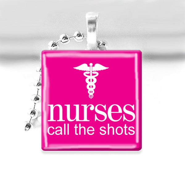 NURSES Call the Shots Glass Tile Pendant with Ball Chain Necklace