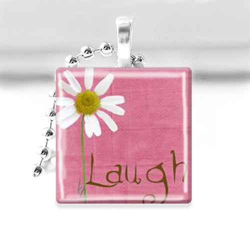 LAUGH (Pink with Daisy) Glass Tile Pendant with Ball Chain Necklace