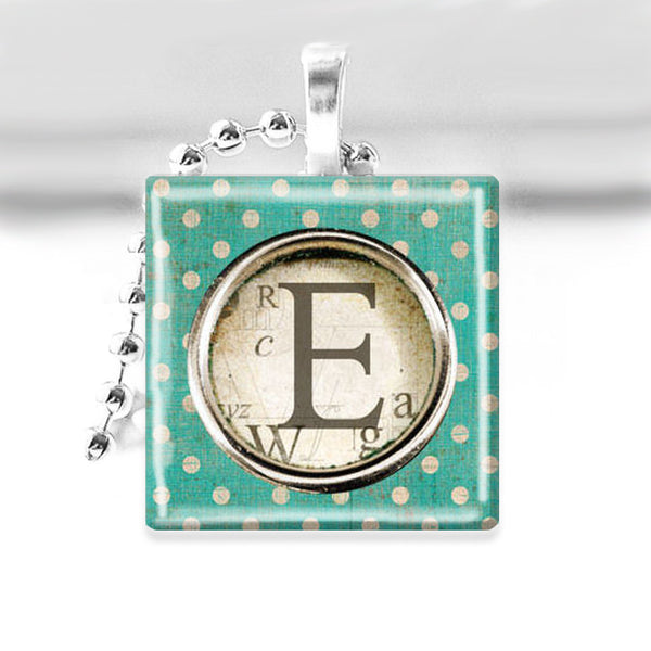 "Monogram Initial ""E"" Glass Tile Pendant with Ball Chain Necklace"