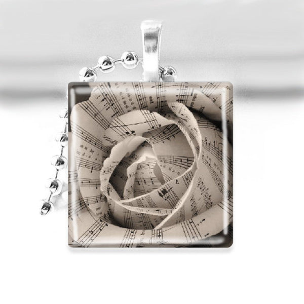 Sheet Music Rose Glass Tile Pendant with Ball Chain Necklace