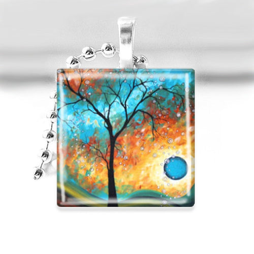 Winter Tree under Turquoise Moon Glass Tile Pendant with Ball Chain Necklace