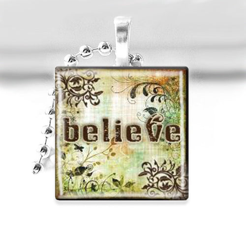 Woodland BELIEVE Glass Tile Pendant with Ball Chain Necklace