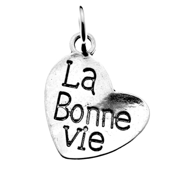 "Antique Silver French La Bonne Vie ""The Good Life"" Charm with Jump Ring"