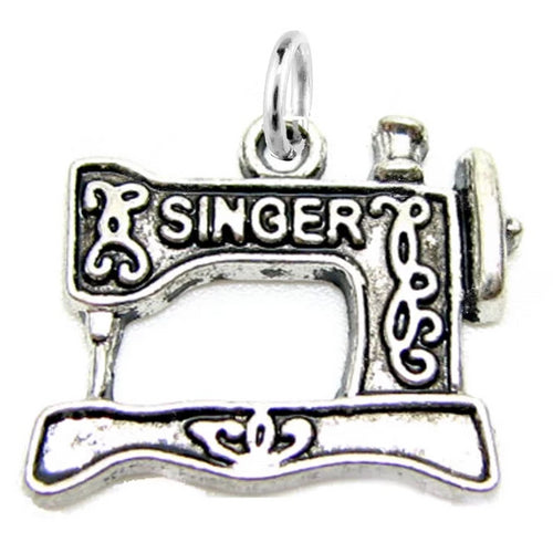 Antique Silver SINGER Sewing Machine Charm / Quilting Charm with Jump Ring