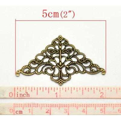 Antique Brass Filigree Triangular Connectors Links | Bronze Jewelry Stampings - Embellishments