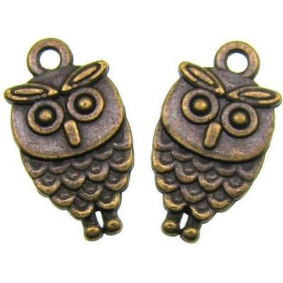 Antique Bronze Double-Sided Wise Owl Charm - Charms
