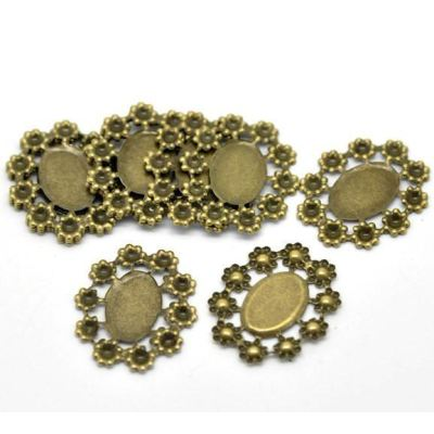 Antique Bronze Filigree Cabochon Setting - Embellishments
