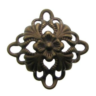 Antique Bronze Filigree Connectors Links | Brass Floral Metal Stampings - Embellishments