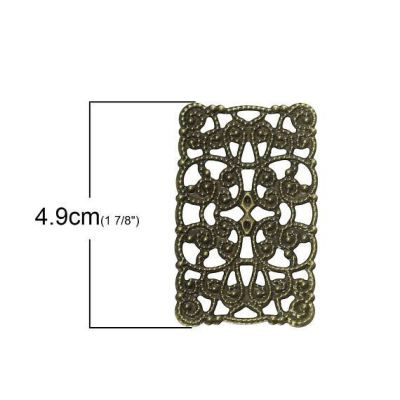 Antique Bronze Filigree Connectors Links | Brass Metal Stampings - Embellishments