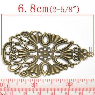 Antique Bronze Filigree Connectors | Metal Jewelry Stampings | Links - Embellishments