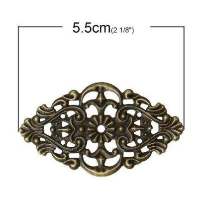 Antique Bronze Filigree Embellishments / Metal Jewelry Stampings