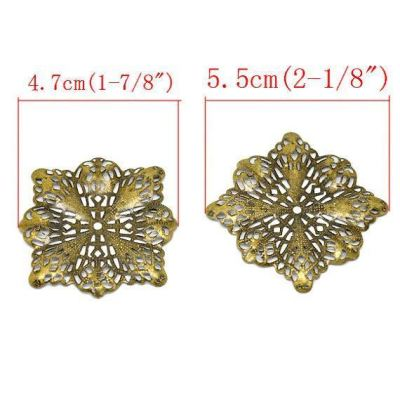 Antique Bronze Filigree Flower Connectors Links | Brass Metal Jewelry Stampings - Embellishments