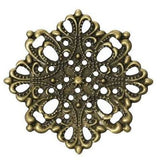 Antique Bronze Filigree Flower Links | Brass Connectors | Metal Stampings - Embellishments
