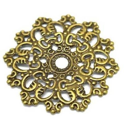 Antique Bronze Filigree Flower Wraps / Connectors / Brass Metal Stampings - Embellishments