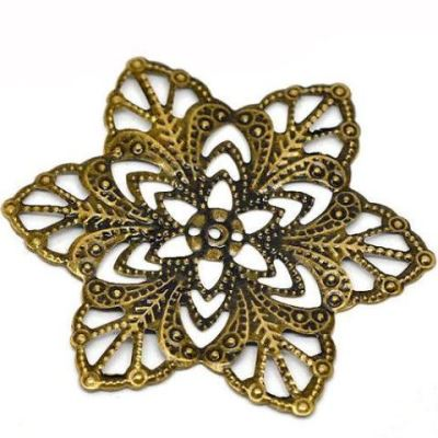 Antique Bronze Filigree Flower Wraps Connectors | Metal Stampings | Links - Embellishments