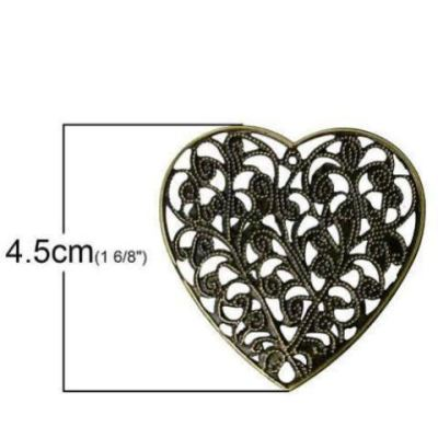 Antique Bronze Filigree Heart Connectors | Links | Jewelry Stampings | Vintage Valentine Hearts - Embellishments