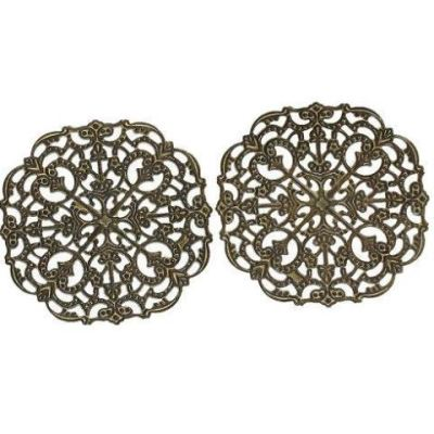 Antique Bronze Filigree Links | Brass Square Stampings Connectors Wraps Embellishments