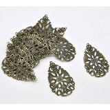 Antique Bronze Filigree Metal Jewelry Stampings | Brass Links - Embellishments