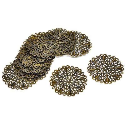 Antique Bronze Filigree Round Connectors / Metal Stampings - Embellishments