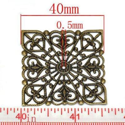 Antique Bronze Filigree Square Wraps Connectors | Metal Stampings | Links - Embellishments